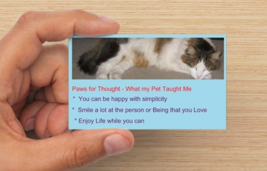SHANDYS PAWS FOR THOUGHT - PASS ALONG CARD - FRONT